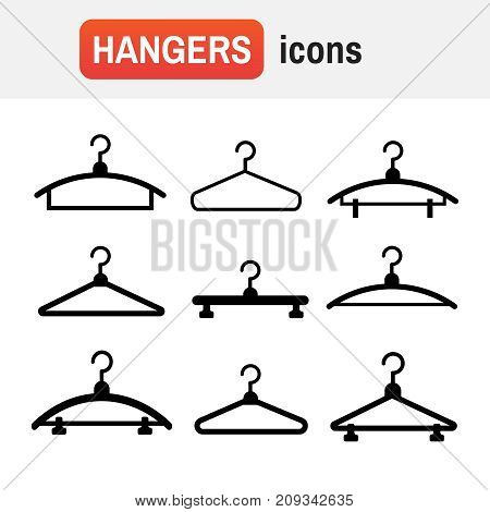 Hangers Vector Black Icons. Cloth Hanger, Object Hanger Set