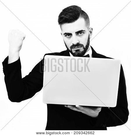 Bearded Businessman Or Speaker With Serious Face And Strong Character