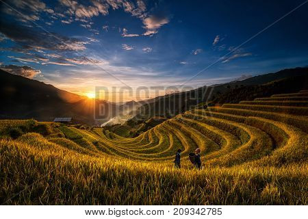 Two undefined Vietnamese Hmong are walking in the fantastic landscape of rice field terrace for prepare harvest when sunrise at Northwest Vietnam. Mu Cang Chai Yen Bai province Vietnam