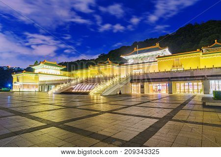 TAIPEI TAIWAN - JULY 14: This is a night view of the National Palace Museum a famous museum known for its Chinese and Taiwanese history on July 14 2017 in Taipei