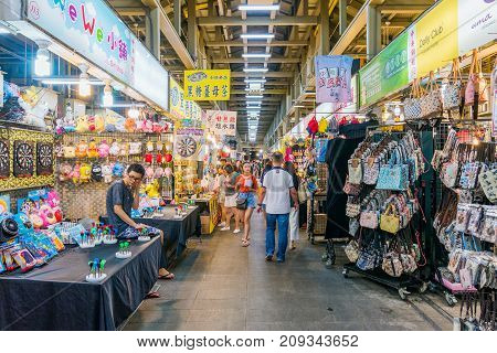 TAIPEI TAIWAN - JULY 11: This is Shilin night market a famous night market in Taipei where many tourists come to play games shop and eat on July 11 2017 in Taipei