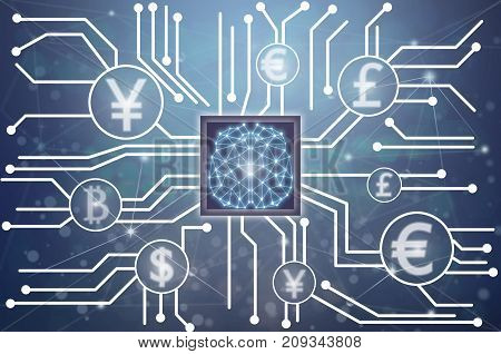Abstract photo of FINTECH connection and Artificial intelligence of brain technology over he Technology connection shape.Abstract photo of Computer generated backgroundFintech and AI concept, 3D illustration