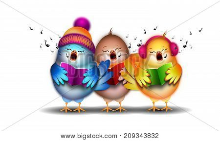 Illustration of three small singing birds christmas carol