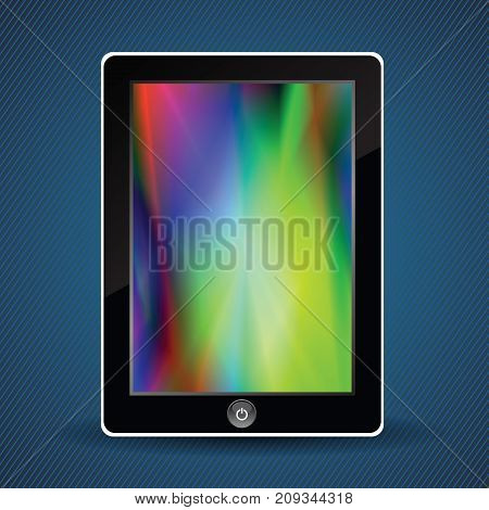Tablet Computer with Colorful Screen on Blue Stripes Background