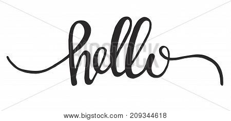 Hello hand written lettering vector word ink graphic