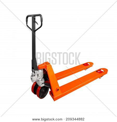 Hand pallet truck warehouse isolated on white