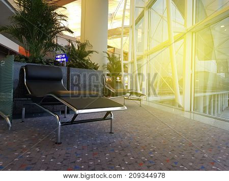 Seats for waiting passengers in one of the departure lounges.This one being currently shown as empty.