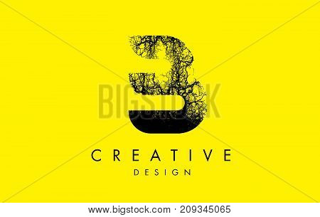 B Logo Letter Made From Black Tree Branches