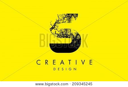S Logo Letter Made From Black Tree Branches