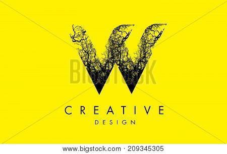 W Logo Letter Made From Black Tree Branches