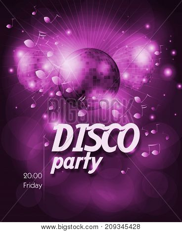 Purple poster for disco party with disco ball
