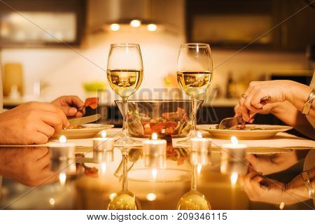 Young couple have romantic dinner with wine. Romantic concept .