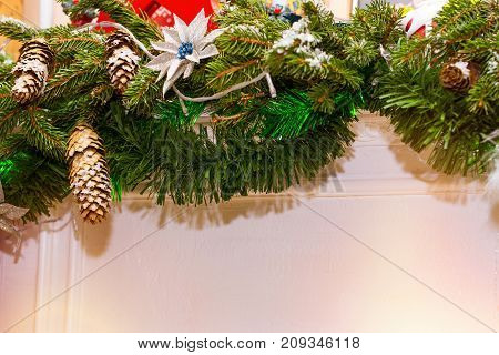 Christmas Spruce Branches With Cones Decorations