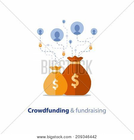 Crowdfunding project, fundraising campaign, money donation, charity fund, money bag, vector flat icon
