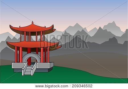 Chinese pagoda between mountains background vector illustration