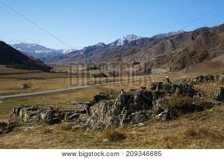 Tract Kalbak-Tash and Chuya Highway in Altai mountains, Russia.