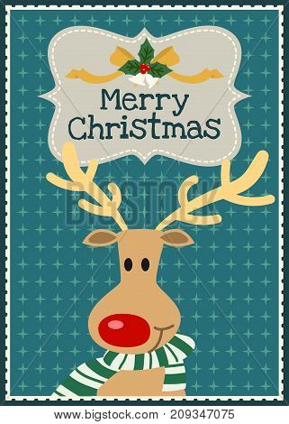 Merry Christmas vector greeting card Christmas reindeer character invitation card