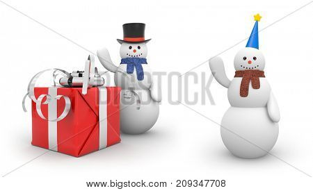Snowman with giftbox and snowman with festive hat. New year and christmas comes. 3d illustration