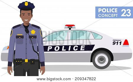 Detailed illustration of police car and african american police officer in flat style on white background.