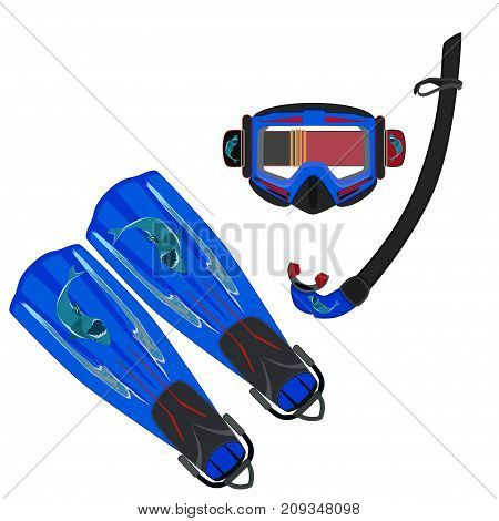 Diving flippers and mask with snorkel vector illustration isolated on white background. Flat style design.