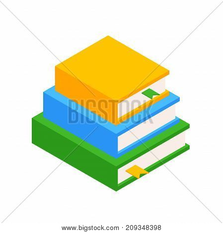 Stack of Three Books in the Isometric. Icon of 3 Books. Educational and Scientific Concept. Element for Infographic. Vector Illustration Isolated on white background