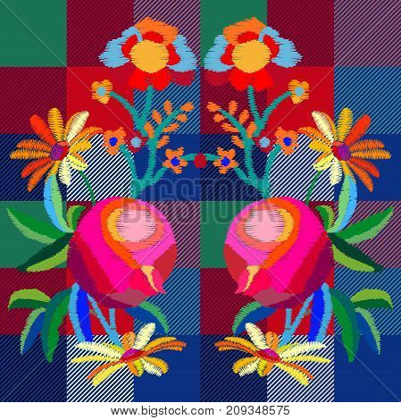 Textile design for dresses, bags, plaids and napkins. Blue, green, red, pink palette.