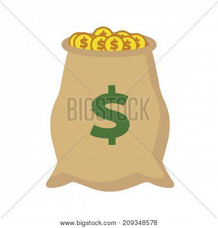 Flat cash bag icon. Money sign icon. Vector illustration.