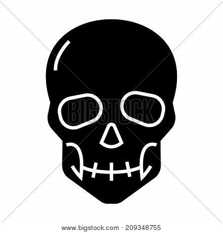 skull icon, illustration, vector sign on isolated background