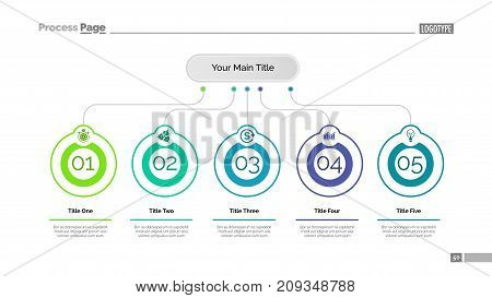 Five ideas process chart slide template. Business data. Step, flow, design. Creative concept for infographic, presentation, report. Can be used for topics like marketing, teamwork, research.