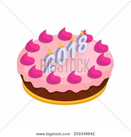 festive Christmas cake with candles. A big cake with candles in the isometric.. cake with candles in figures 2018. Vector illustration isolated from white background