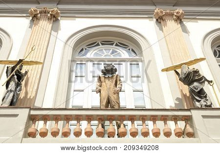 FIGUERES, SPAIN - JULY 26, 2017: Surrealist sculptures on balcony at the Dali Theater and Museum in Figueres a city of Girona Catalonia Spain.