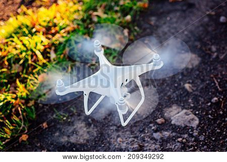 Starting new white drone quadcopter with camera