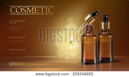 Realistic 3D Essence Bottle Cosmetic Ad. Oil Droplet Falling Pipette. Treatment Collagen Vitamin Ser
