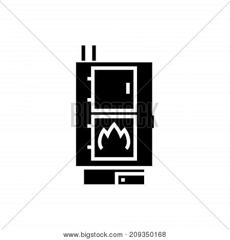 solid fuel boiler - pellet stove icon, illustration, vector sign on isolated background