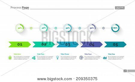 Five options percentage chart slide template. Business data. Arrow, diagram, design. Creative concept for infographic, presentation. Can be used for topics like marketing, statistics, production.
