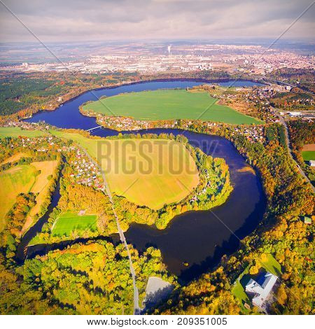 Czech Valley Reservoir in The Litice suburban district of Pilsen. Aerial view to scenic landscape in Czech Republic, Central Europe.