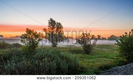 Morning Mist At Dawn, Before Sunrise Near The Village