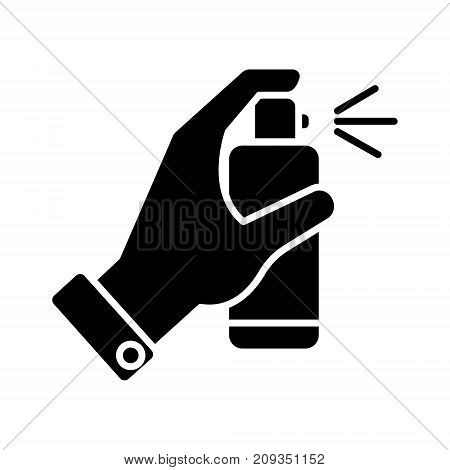 spray bottle in hand icon, illustration, vector sign on isolated background