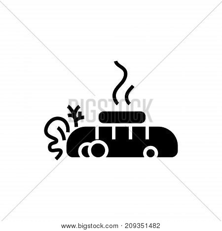 steak - meat fried - bread with butter icon, illustration, vector sign on isolated background