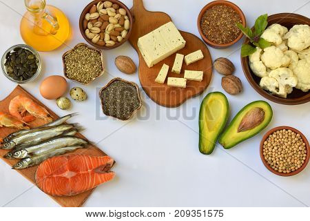 Composition Of Products Containing Unsaturated Fatty Acids Omega 3 - Fish, Nuts, Tofu, Avocado, Egg,