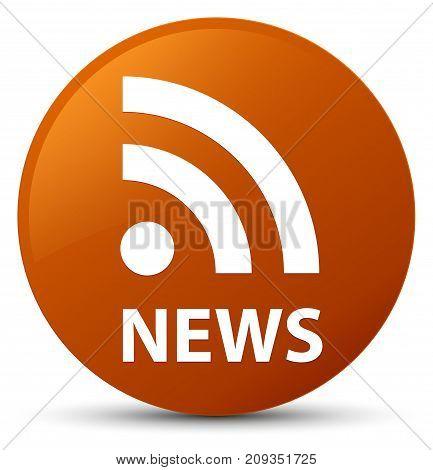 News (rss Icon) Brown Round Button