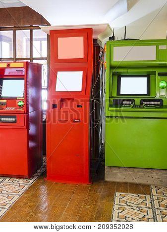 Cash machines close up