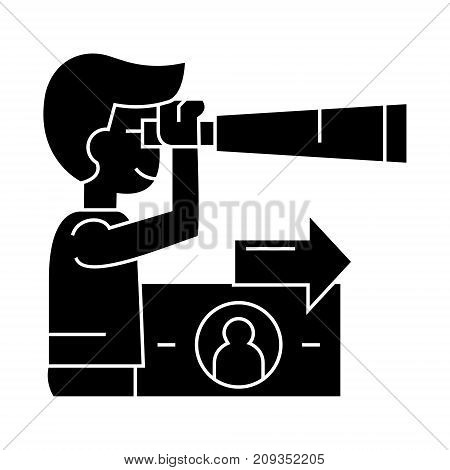 strategic vision planning, man with spyglass icon, illustration, vector sign on isolated background