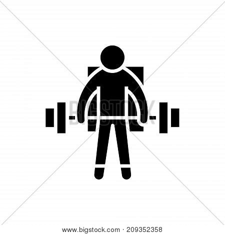 strong athlete - lifting weights icon, illustration, vector sign on isolated background