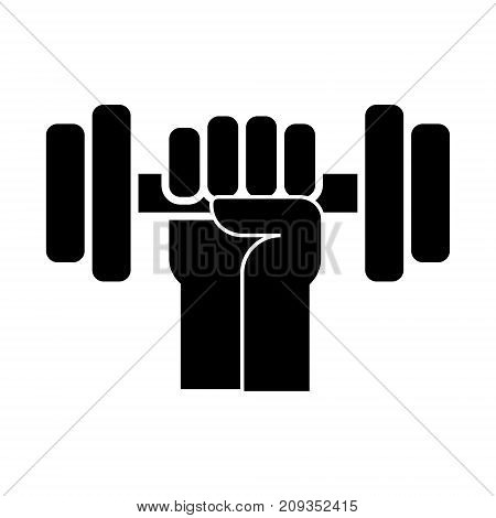 strong hand with dumbbell icon, illustration, vector sign on isolated background