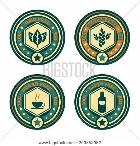 Set of vintage retro food stamps icons stickers or signs for healthy natural organic product bio eco concept - labels lactose, GMO, gluten, sugar free for restaurant cafe menu, market shop business etc.