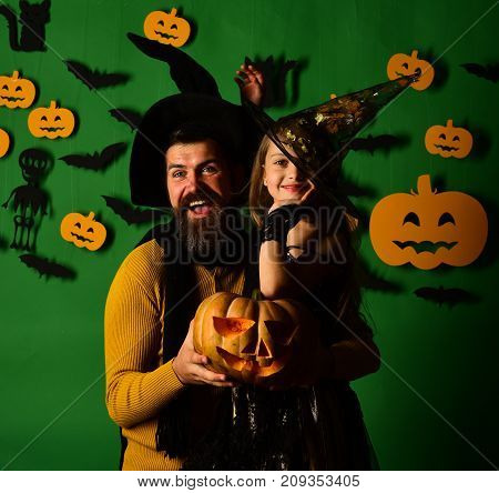 Girl And Bearded Man With Happy Faces On Green Background
