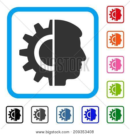 Android Robotics icon. Flat gray iconic symbol inside a light blue rounded squared frame. Black, gray, green, blue, red, orange color versions of Android Robotics vector.