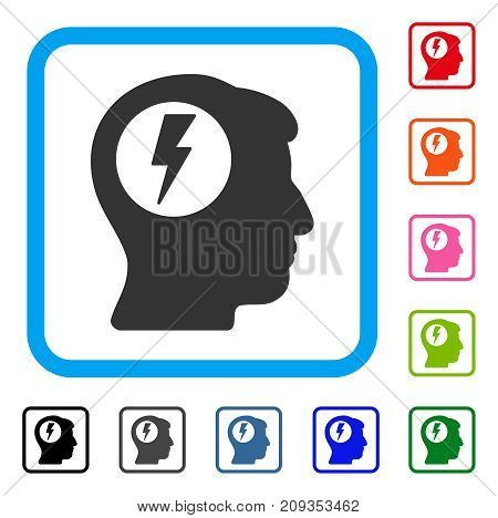 Brain Electric Shock icon. Flat gray iconic symbol inside a light blue rounded rectangular frame. Black, gray, green, blue, red, orange color additional versions of Brain Electric Shock vector.