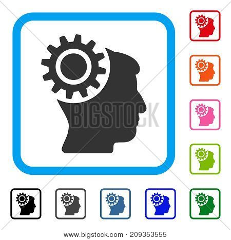 Brain Gear icon. Flat grey pictogram symbol in a light blue rounded squared frame. Black, gray, green, blue, red, orange color variants of Brain Gear vector. Designed for web and app interfaces.